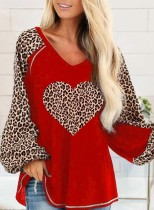 Women's Pullovers Casual Leopard Heart-shaped Color Block Long Sleeve Round Neck Tunics