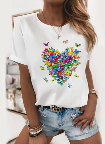 Women's T-shirts Color-block Butterfly Short Sleeve Round Neck Casual T-shirt