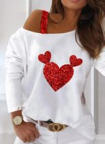 Women's Pullovers Color Block Heart-shaped Long Sleeve Cold Shoulder Sequin Daily Pullover