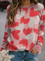 Women's Pullovers Heart-shaped Color Block Round Neck Long Sleeve Daily Casual Pullovers