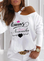 Women's Pullovers Letter Heart-shaped Long Sleeve Round Neck Cold Shoulder Pullover