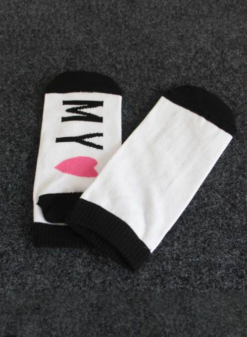 Women's Socks Color Block Letter Cotton Socks