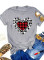 Women's T-shirts Casual Plaid Leopard Heart-shaped Solid Round Neck Short Sleeve Daily T-shirts