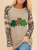 Women's Tunic Tops Casual Color Block Clover Leopard Round Neck Long Sleeve Daily Tops