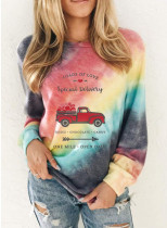 Women's Sweatshirts Round Neck Long Sleeve Color Block Letter Casual Sweatshirts