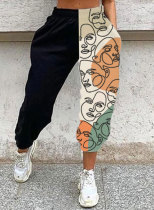 Women's Joggers Color Block Abstract Straight High Waist Daily Full Length Casual Pocket Joggers