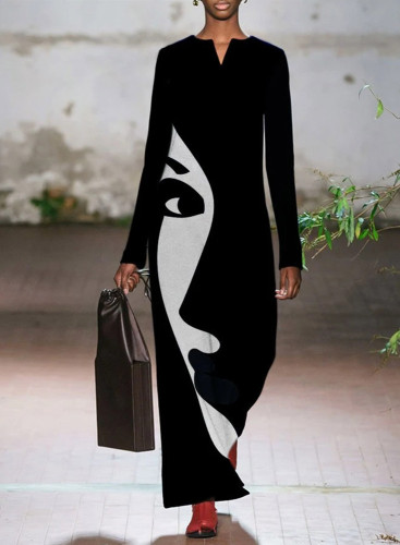 Women's Maxi Dresses Color Block Abstract Portrait Long Sleeve Fit & Flare V Neck Casual Maxi Dress