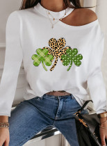 Women's T-shirts Cold Shoulder Crew Neck Leopard Plaid Festival Long Sleeve Casual Daily T-shirts