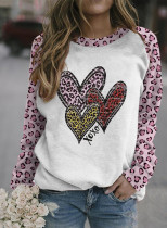 Women's Pullovers Leopard Heart-shaped Color Block Round Neck Long Sleeve Daily Casual Pullovers