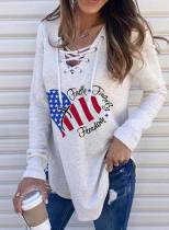 Women's Pullovers Letter Flag Holiday Long Sleeve V Neck Casual Criss Cross Decoration Pullover