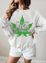 Women's Sweatshirts Letter Leaf Print Long Sleeve Round Neck Casual Sweatshirt
