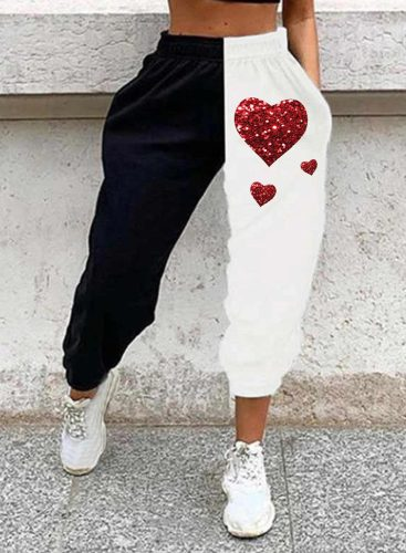 Women's Joggers Color Block Heart-shaped Sequin Straight High Waist Ankle-length Casual Joggers