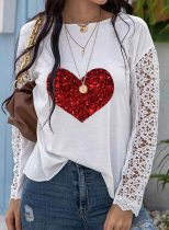 Women's Pullovers Casual Sequin Lace Heart-shaped Round Neck Long Sleeve Daily Pullovers