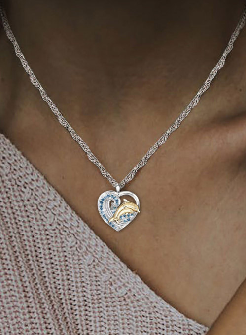 Women's Necklaces Love Dolphin Diamond Necklace