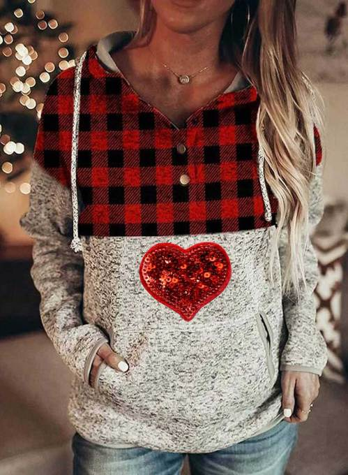 Women's Hoodies Casual Drawstring Sequin Heart-shaped Plaid Long Sleeve Pocket Hoodies