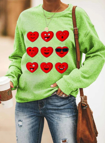 Women's Pullovers Solid Heart-shaped Round Neck Long Sleeve Casual Daily Pullovers