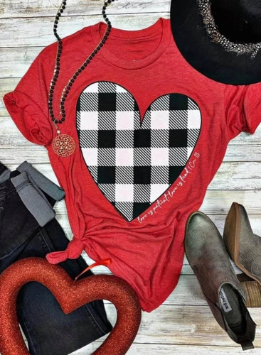 Women's T-shirts Plaid Heart-shaped Print Short Sleeve Round Neck Daily T-shirt