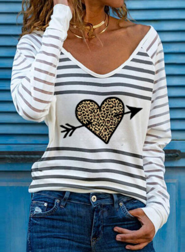 Women's T-shirts Casual Striped Heart-shaped Leopard V Neck Long Sleeve Daily T-shirts