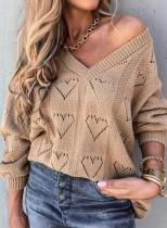 Geometric Solid V Neck Casual Sweater