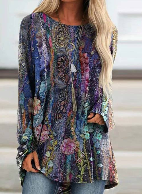 Women's Tunics Abstract Long Sleeve Round Neck Daily Tunic