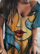 Women's T-shirts Abstract Portrait Print Short Sleeve V Neck Daily T-shirt