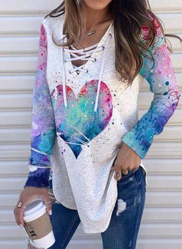 Women's Pullovers Color-block Heart-shaped Long Sleeve V Neck Knot Daily Pullover