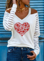 Women's Pullovers Off Shoulder Heart-shaped Color Block V Neck Long Sleeve Casual Sexy Pullovers