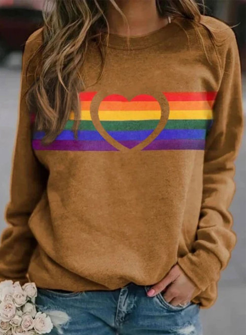 Women's Sweatshirts Rainbow Striped Heart-shaped Color Block Long Sleeve Round Neck Daily Sweatshirt