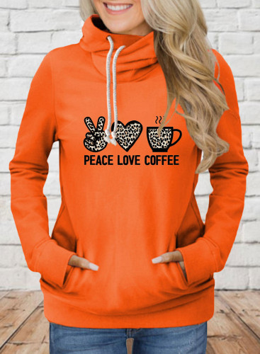 Women's Hoodies Leopard Letter Heart-shaped Long Sleeve Daily Drawstring Hoodie
