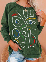 Women's Sweatshirts Abstract Portrait Print Long Sleeve Round Neck Casual Sweatshirt