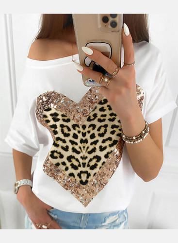 Women's T-shirts Leopard Heart-shaped Print Sequin Short Sleeve Asymmetrical Cold-shoulder Daily T-shirt
