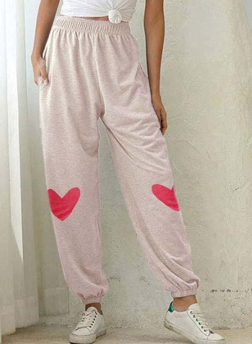 Women's Joggers Color Block Heart-shaped Straight High Waist Full Length Casual Joggers
