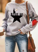 Women's Sweatshirts Color-block Slogan Letter Print Long Sleeve Round Neck Sweatshirt