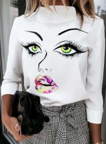 Women's Pullovers Abstract Portrait Long Sleeve Stand Neck Daily Pullover