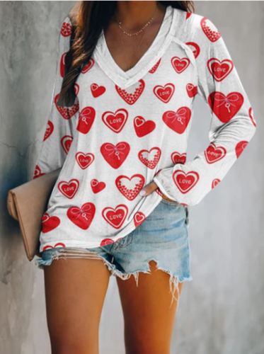 Women's T-shirts Casual Heart-shaped Color Block Long Sleeve V Neck Pullovers