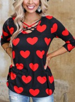 Women's Tunic Tops Casual Heart-shaped Color Block Long Sleeve U Neck Pullovers