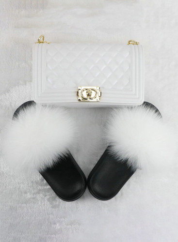Solid Fur Slides with Matching Crossbody Jelly Purses