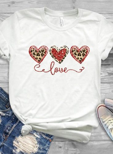 Women's T-shirts Leopard Letter Heart-shaped Print Short Sleeve Round Neck Daily T-shirt