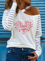 Women's Pullovers Casual Cold Shoulder Heart-shaped Solid Round Neck Long Sleeve Daily Pullovers
