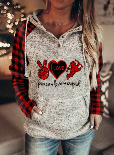 Women's Hoodies Plaid Letter Casual Color Block Drawstring Long Sleeve Pocket Daily Hoodies