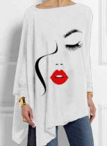 Women's Pullovers Abstract Portrait Long Sleeve Round Neck Casual Tunic Pullover