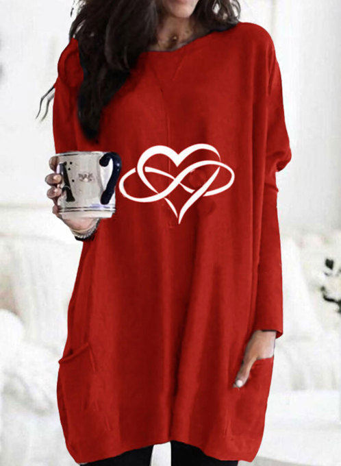 Women's Tunic Tops Solid Heart-shaped Round Neck Long Sleeve Pocket Casual Daily Tunics
