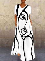 Women's Maxi Dresses Abstract Portrait Short Sleeve A-line V Neck Daily Maxi Dress