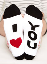 Women's Socks Letter Print Colorblock Holiday Cotton Socks