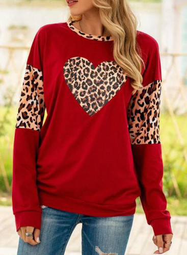 Women's Sweatshirts Leopard Heart-shaped Print Long Sleeve Round Neck Casual Sweatshirt