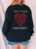 Women's Sweatshirts Letter Heart-shaped Print Long Sleeve Round Neck Casual Sweatshirt