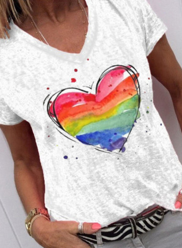 Women's T-shirts Color Block Rainbow Heart-shaped Print Short Sleeve Round Neck T-shirt