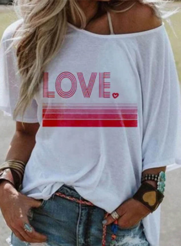 Women's T-shirts Letter Print Short Sleeve Round Neck Daily T-shirt