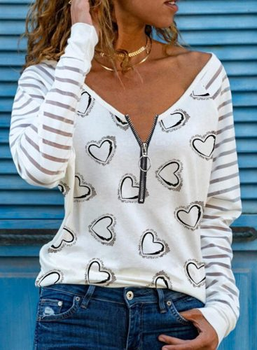 Women's Pullovers Casual Heart-shaped Striped Zip V Neck Long Sleeve Daily Pullovers