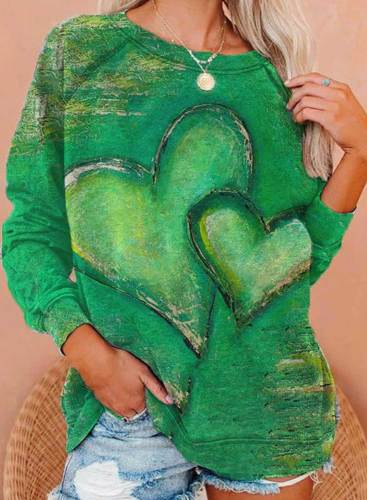 Women's Pullovers Heart-shaped Color Block Round Neck Long Sleeve Daily Pullovers